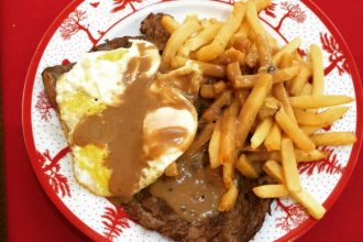 Steak with Fries and Egg